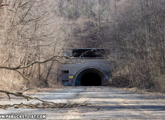 The abandoned western portal of Rays Hill Tunnel on the Pennsylvania Turnpike.
