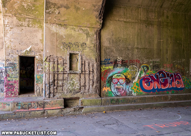 Graffiti on the walls of the Rays Hill Tunnel along the abandoned PA Turnpike.