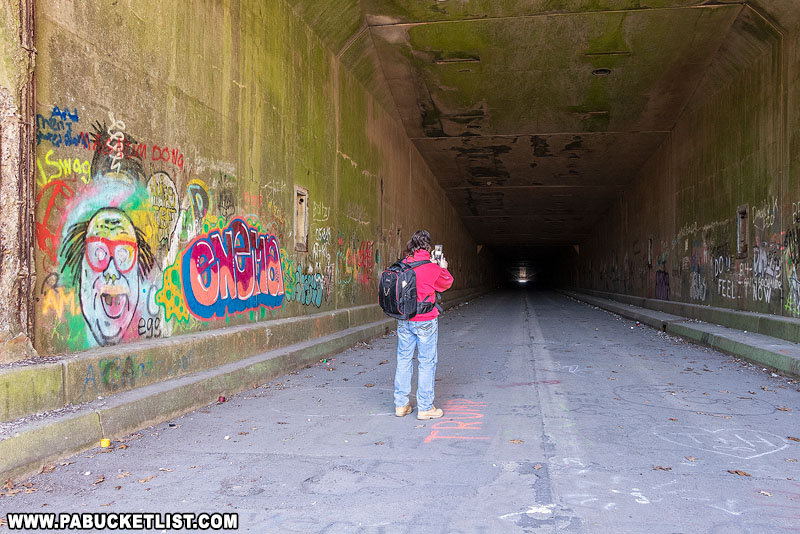The author inside the Rays Hill Tunnel.
