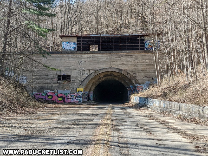 The eastern entrance of the Sideling Hill Tunnel on the abandoned Pennsylvania Turnpike.