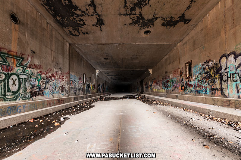 Interior of the Sideling Hill Tunnel on the abandoned Pennsylvania Turnpike.