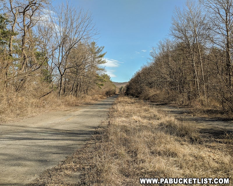 The abandoned Pennsylvania Turnpike near the Breezewood parking area.