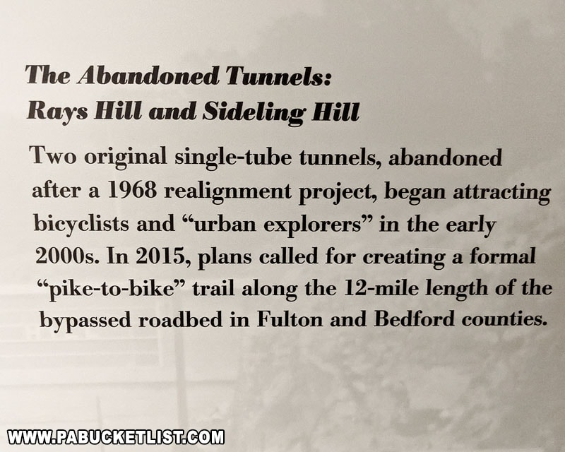 Informational sign about the abandoned turnpike tunnels, on display at the PA State Museum in Harrisburg.