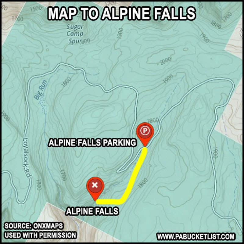 A map to Alpine Falls in the Loyalsock State Forest.