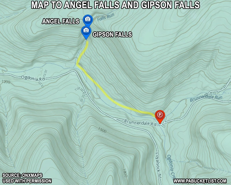 A map to Angel Falls and Gipson Falls in the Loyalsock State Forest.