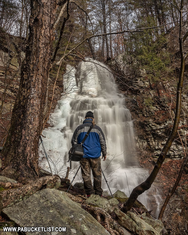 A fellow photographer at Angel Falls in the Loyalsock State Forest.