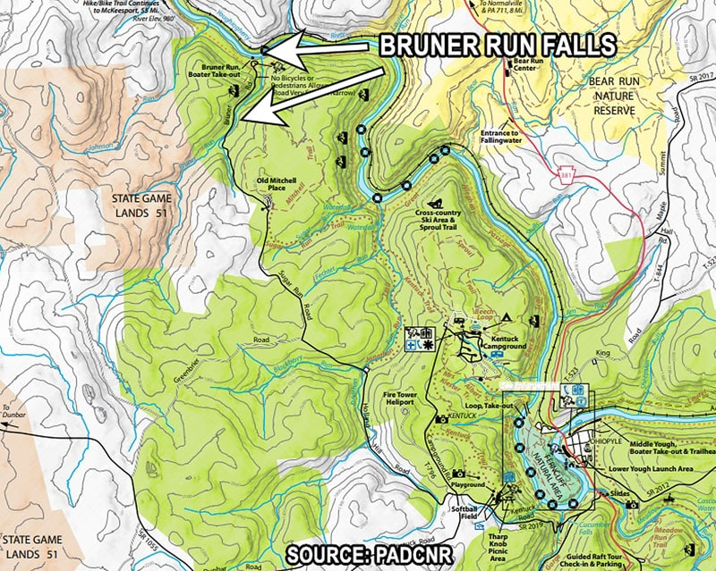 Bruner Run Falls Map at Ohiopyle State Park
