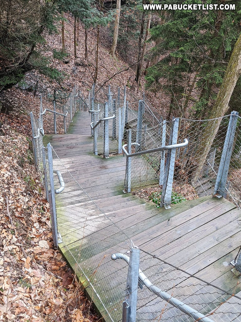 Stairs leading to Buttermilk Falls.