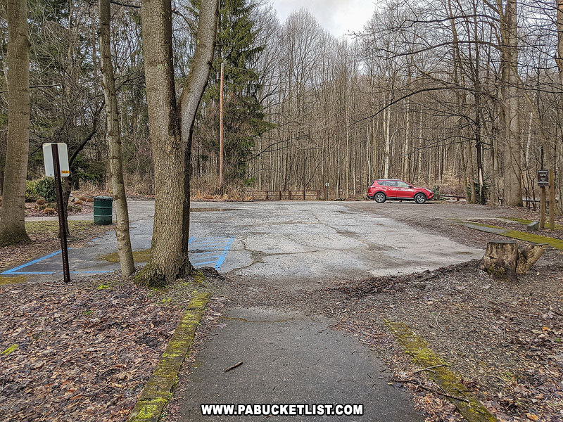 The parking lot at Buttermilk Falls Natural Area.