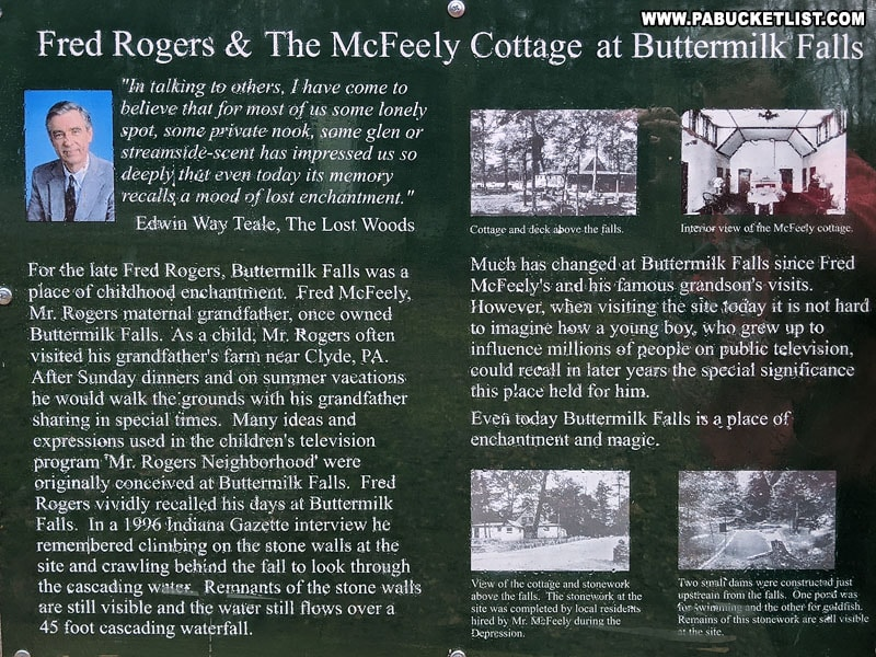 A sign about Fred Rogers connection to Buttermilk Falls.