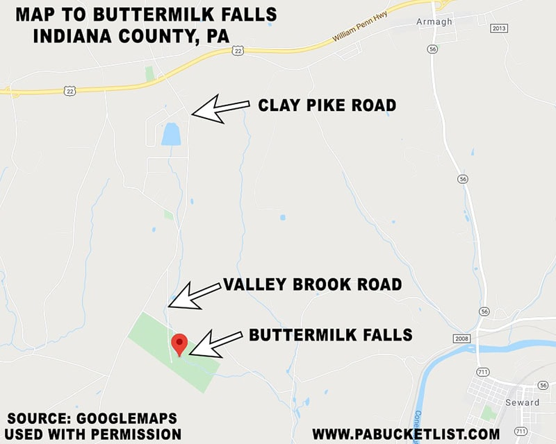 Map to Buttermilk Falls in Indiana County, PA.