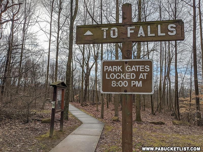Signpost at Buttermilk Falls Natural Area