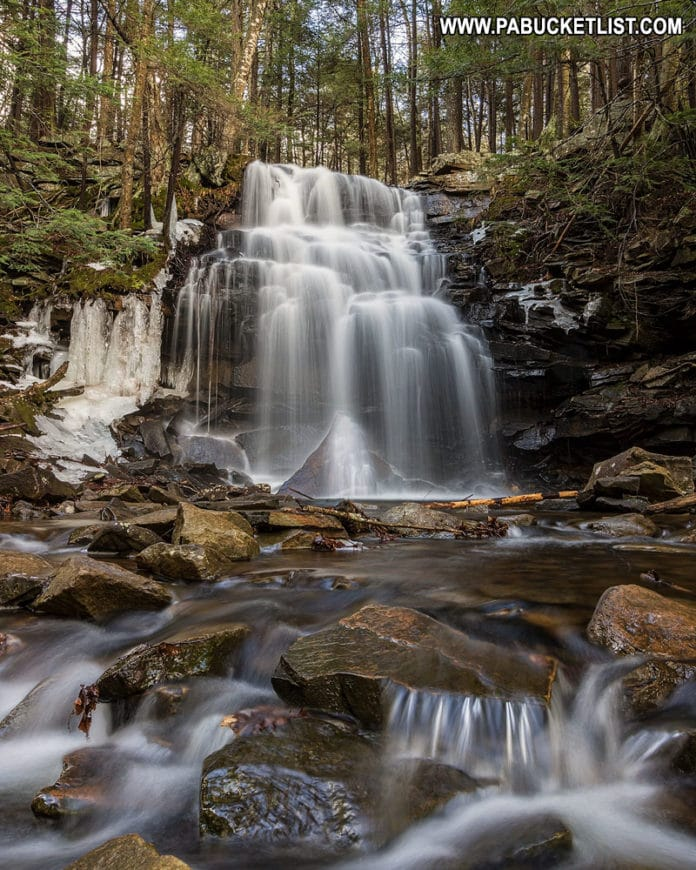 A downstream view of Dutchman Falls in Sullivan County.