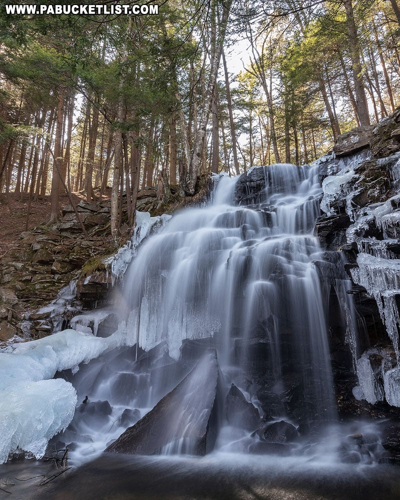 A side view of Dutchman Falls in Sullivan County.