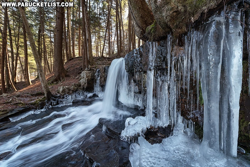 Ice around the upper tier of Dutchman Falls.