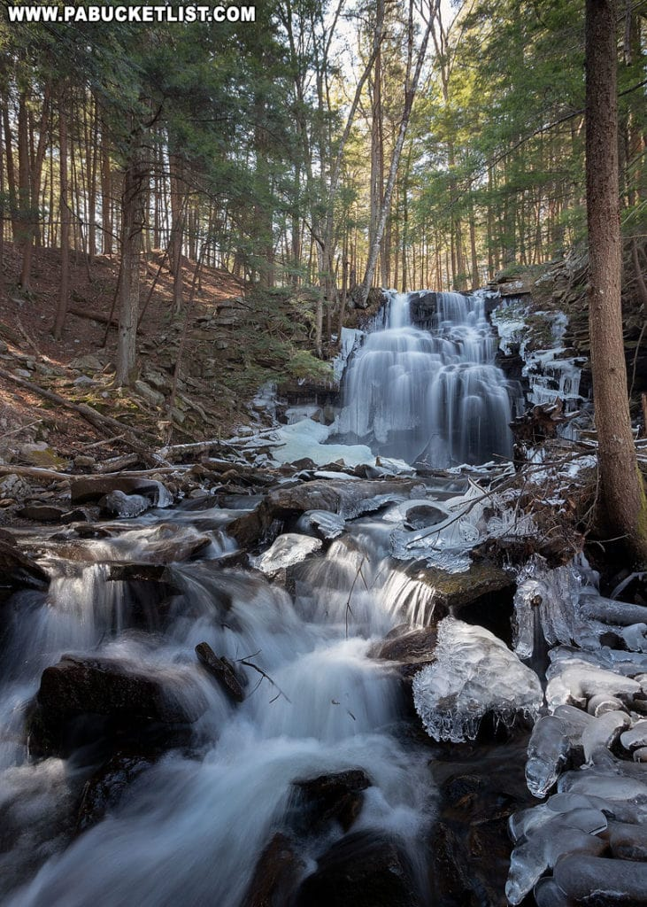 A downstream view of Dutchman Falls in the Loyalsock State Forest.