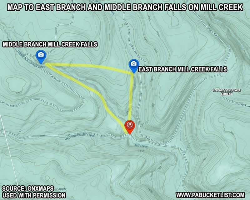 A map to East Branch Falls and Middle Branch Falls in the Loyalsock State Forest.