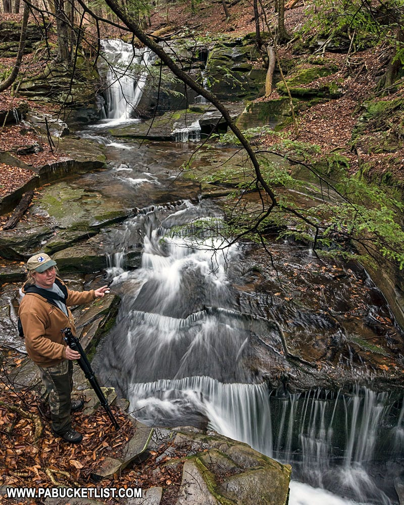 A fellow photographer at East Branch Falls in Sullivan County.