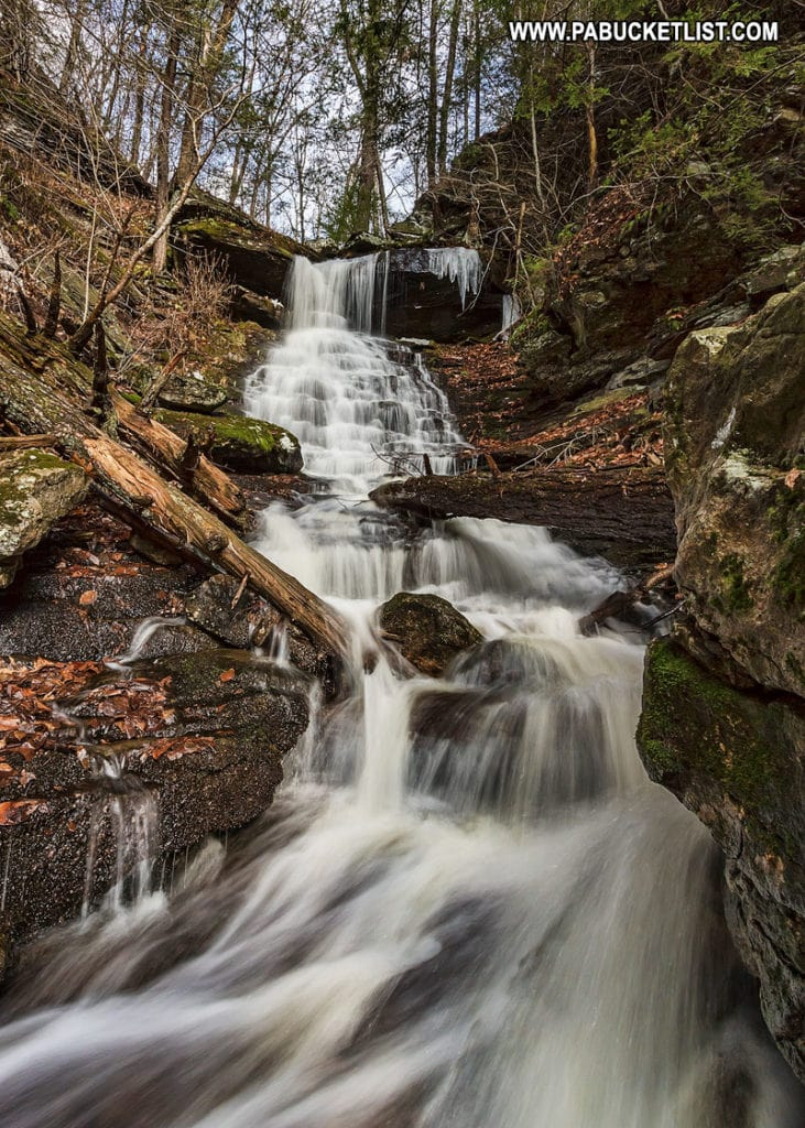 Spring thaw at High Rock Falls in Worlds End State Park