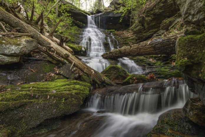 A springtime scene at High Rock Falls in Worlds End State Park.