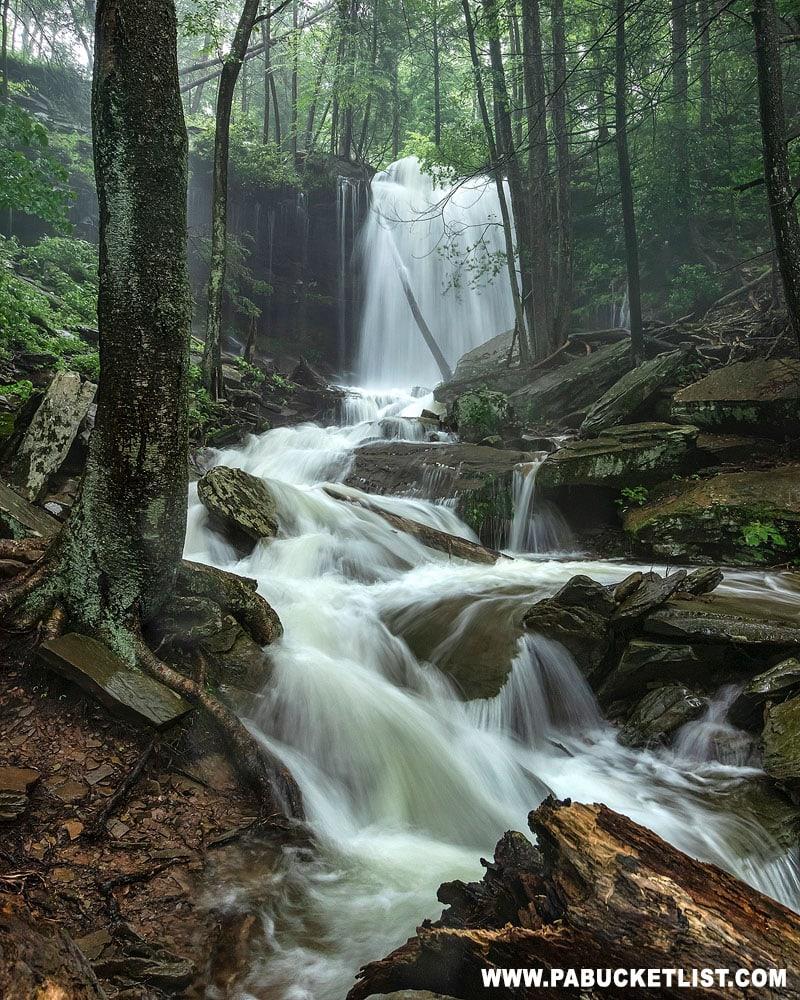 Jacoby Falls swollen by heavy summer rain.