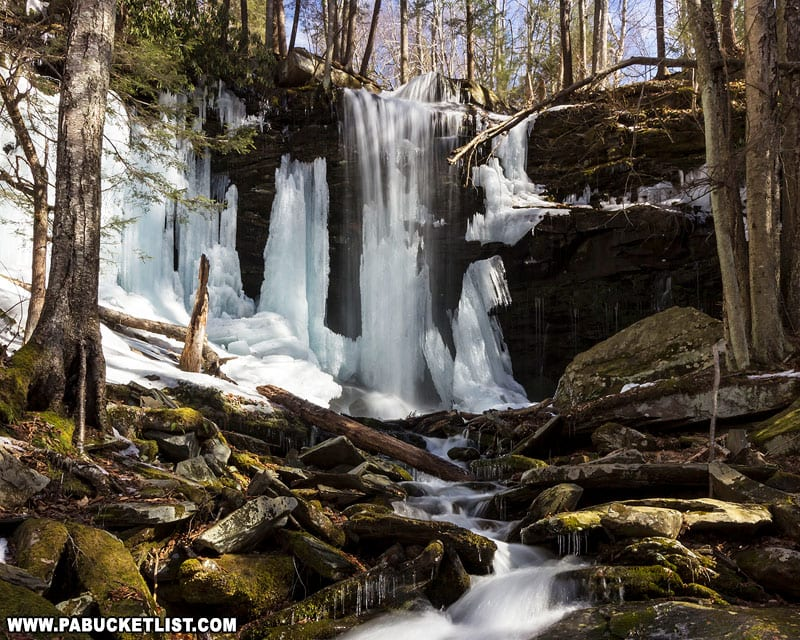 A winter afternoon at Jacoby Falls.