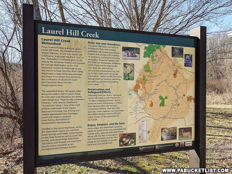 Informational sign about Laurel Hill Creek next to Kings Covered Bridge.