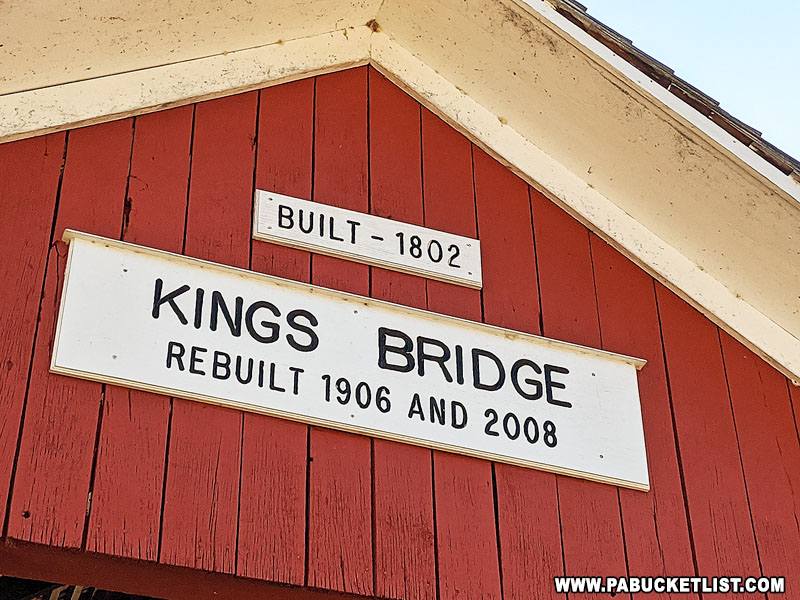The nameplate on Kings Covered Bridge in Somerset County.