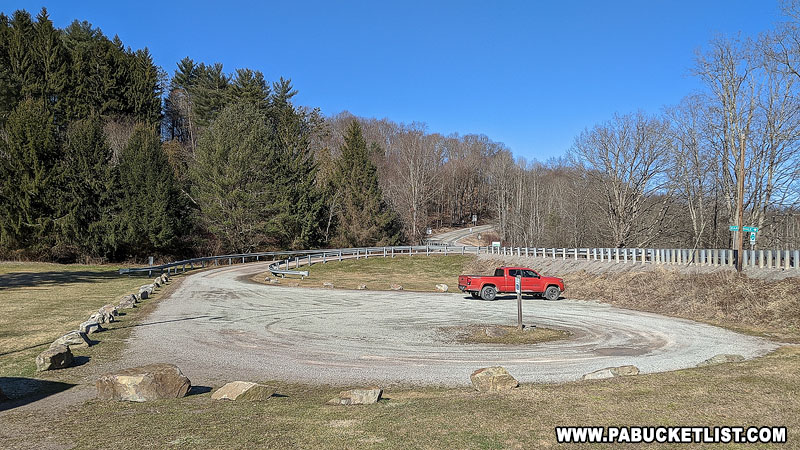 The parking area at Kings Covered Bridge in Somerset County.