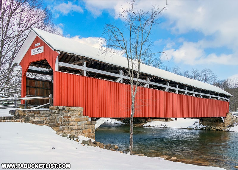 Kings Covered Bridge surrounded by snow.