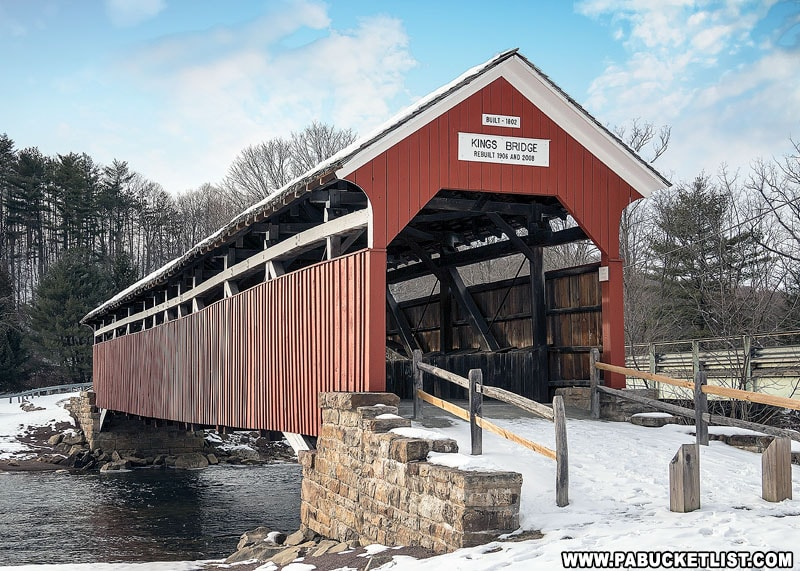 Kings Covered Bridge on a winter afternoon.