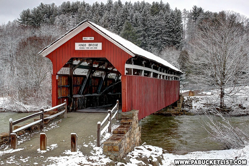 A snowy morning at Kings Covered Bridge in Somerset County.