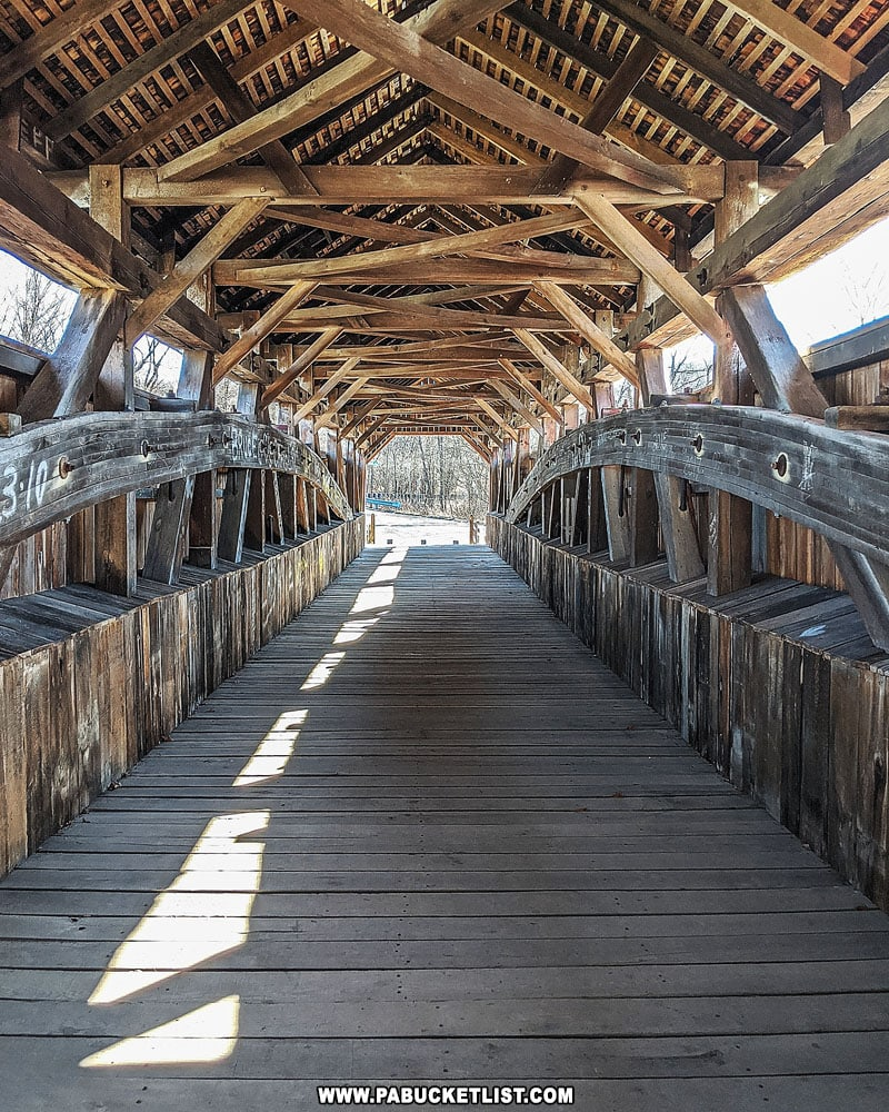 Interior of the Kings Covered Bridge in Somerset County.