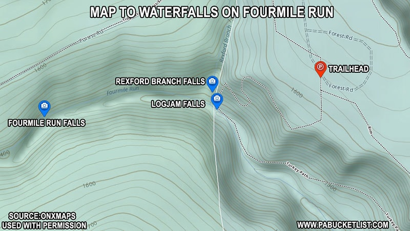 A map to the waterfalls on Fourmile Run near Colton Point State Park