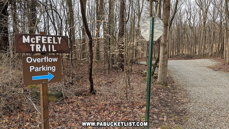 The overflow parking lot and McFeely Trail at Buttermilk Falls Natural Area.