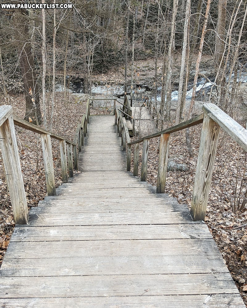 Stairway to the Natural Water Slides at Ohiopyle State Park.