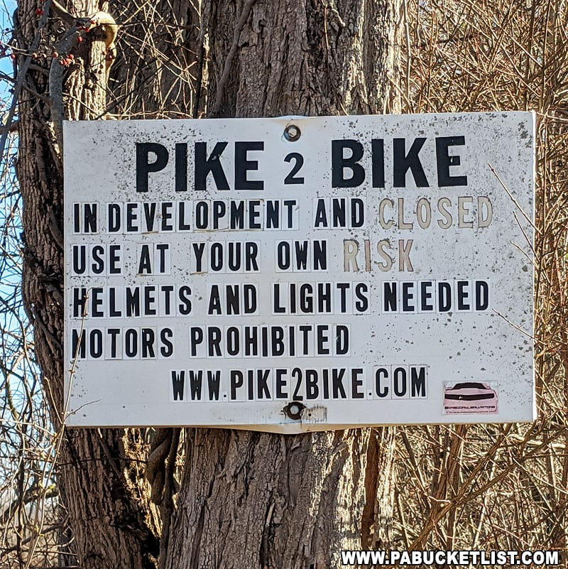 A sign posted near the Breezewood parking area for the Abandoned PA Turnpike.