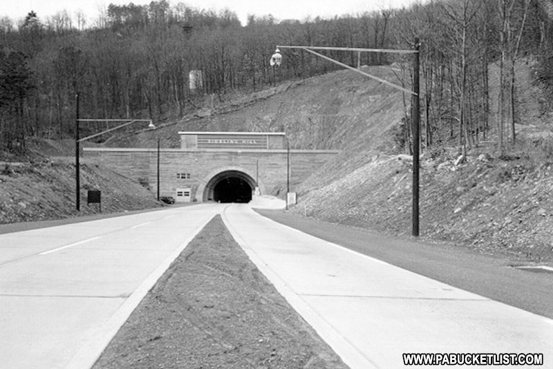 The eastern portal of the Sideling Hill Tunnel as pictured in a historical photo at the PA State Museum in Harrisburg.