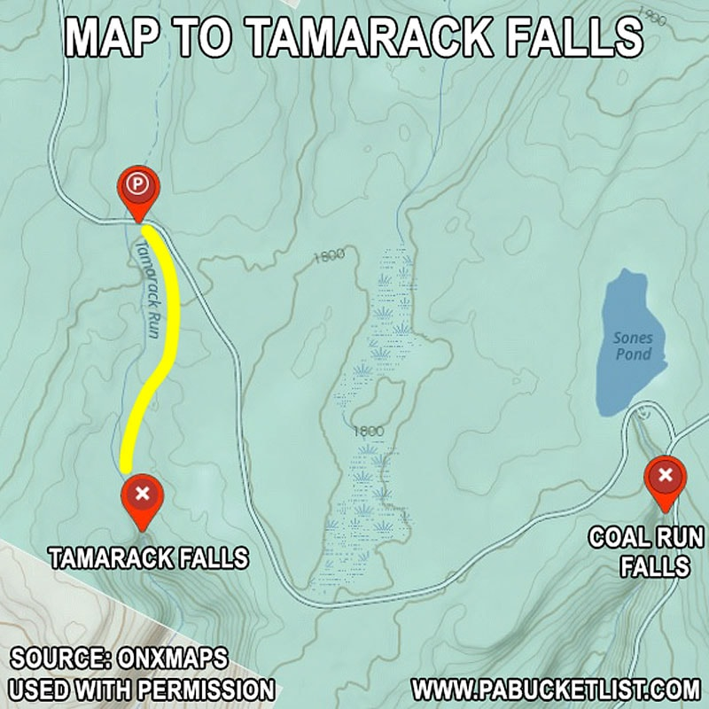 A map to Tamarack Falls in the Loyalsock State Forest.