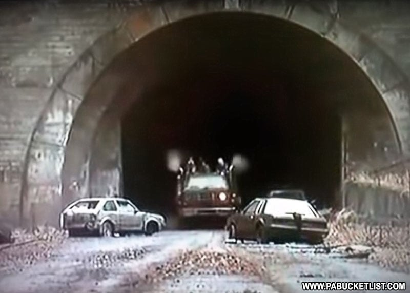 "A scene from the post-apocalyptic film ""The Road"", filmed at the Rays Hill Tunnel in 2009."