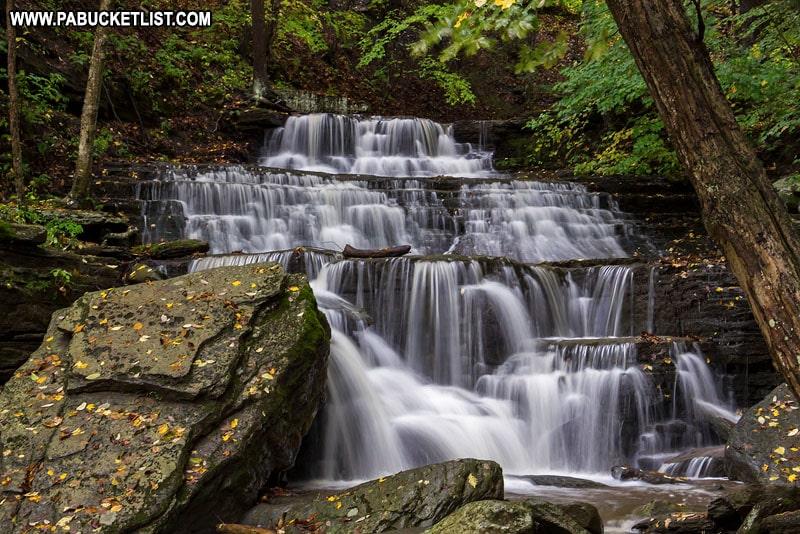 Waterfall next to the Pine Creek Rail Trail along the Turkey Path.