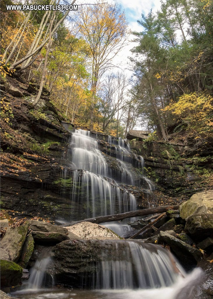 Fall foliage and waterfalls along the Turkey Path at Leonard Harrison State Park.