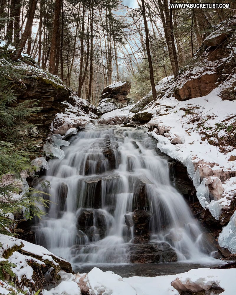Winter view of Vinegar Run Falls in Sullivan County.