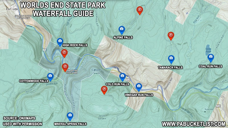 A map of the waterfalls in and around Worlds End State Park.