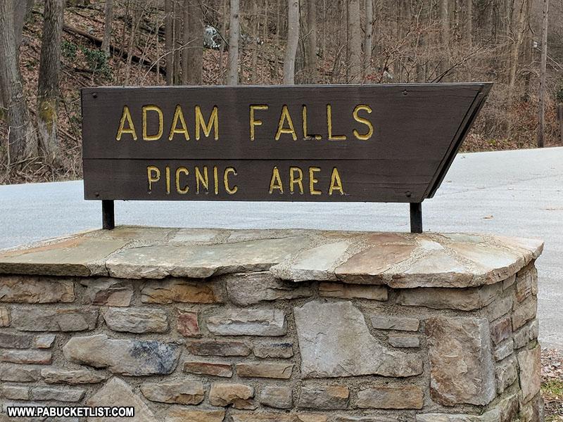 Adams Falls sign at Linn Run State Park
