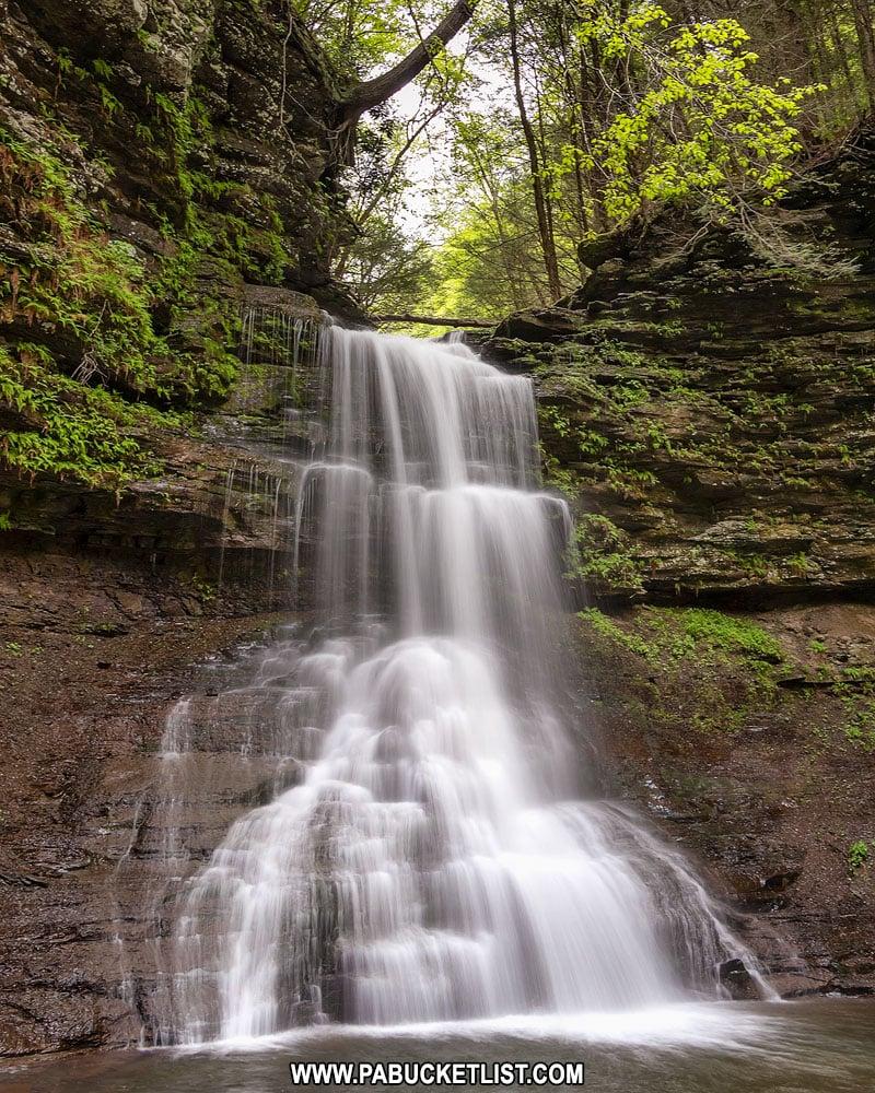Close-up of Amphitheater Falls in Tioga County, Pennsylvania