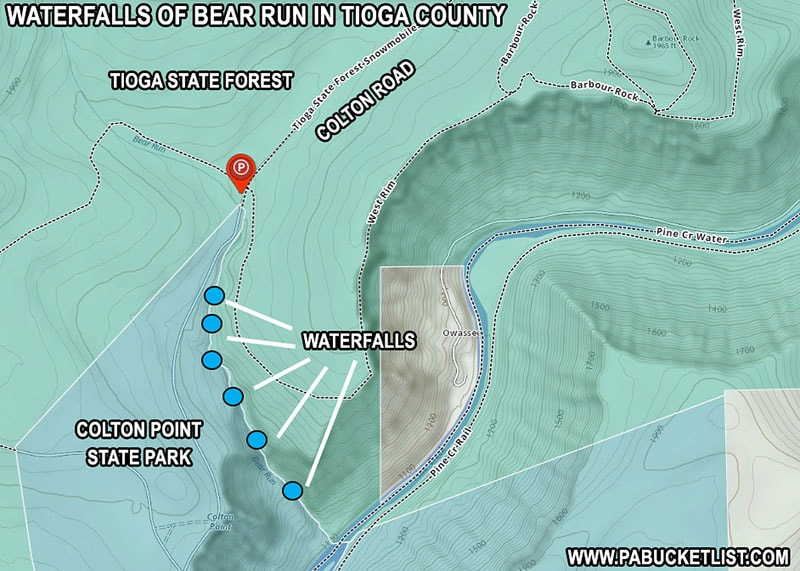 How to find Bear Run Falls in Tioga County Pennsylvania