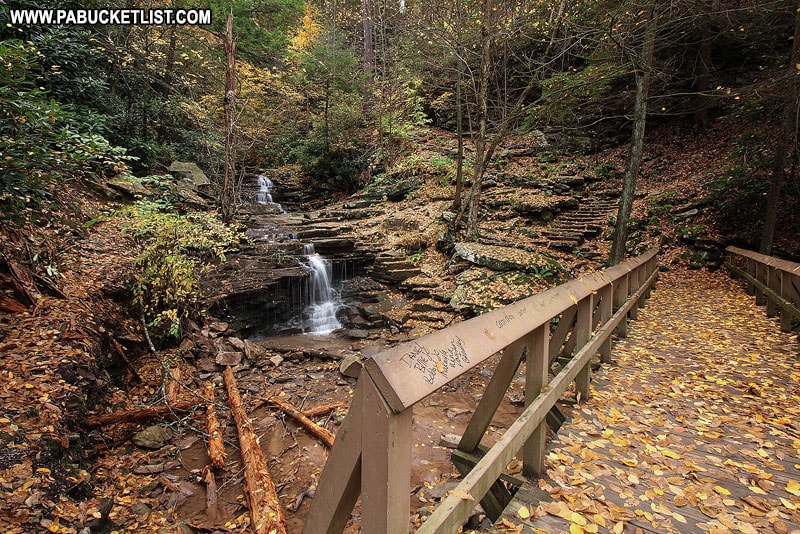 Rainbow Falls Bridge at Trough Creek State Park