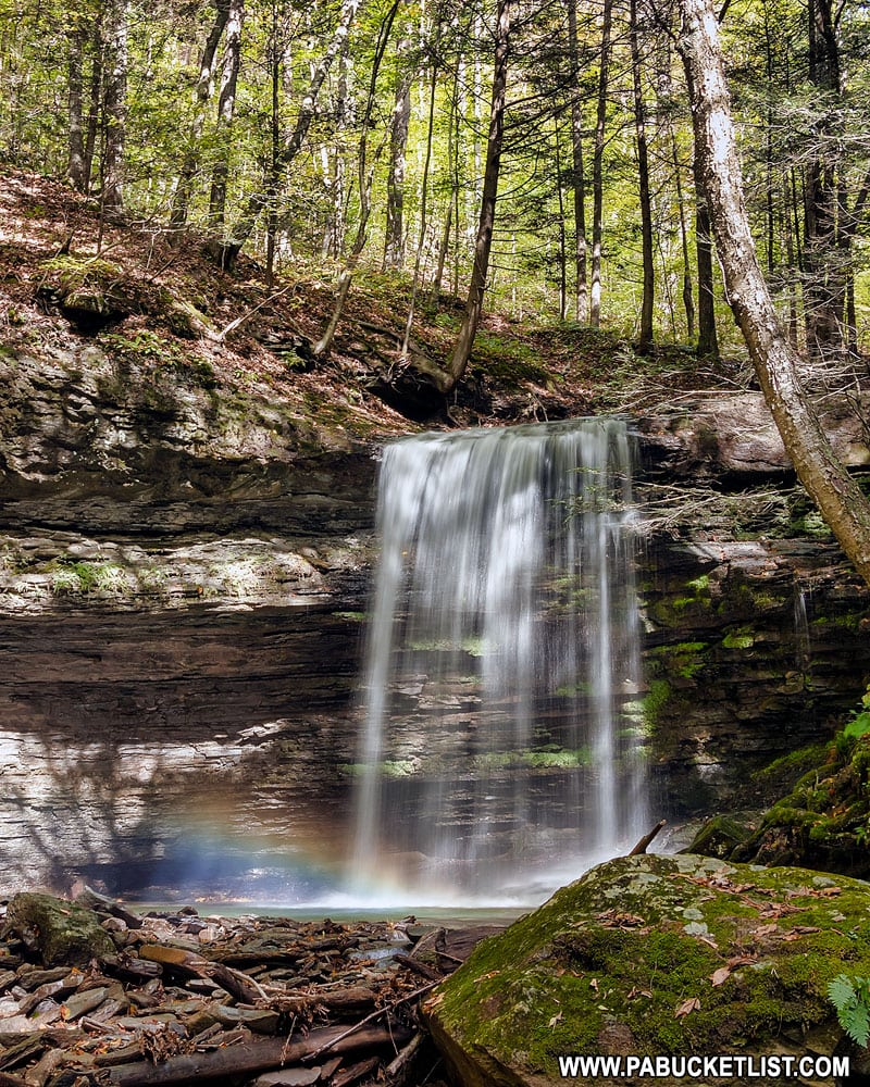 A rainbow at Campbells Run Falls in Tioga County Pennsylvania