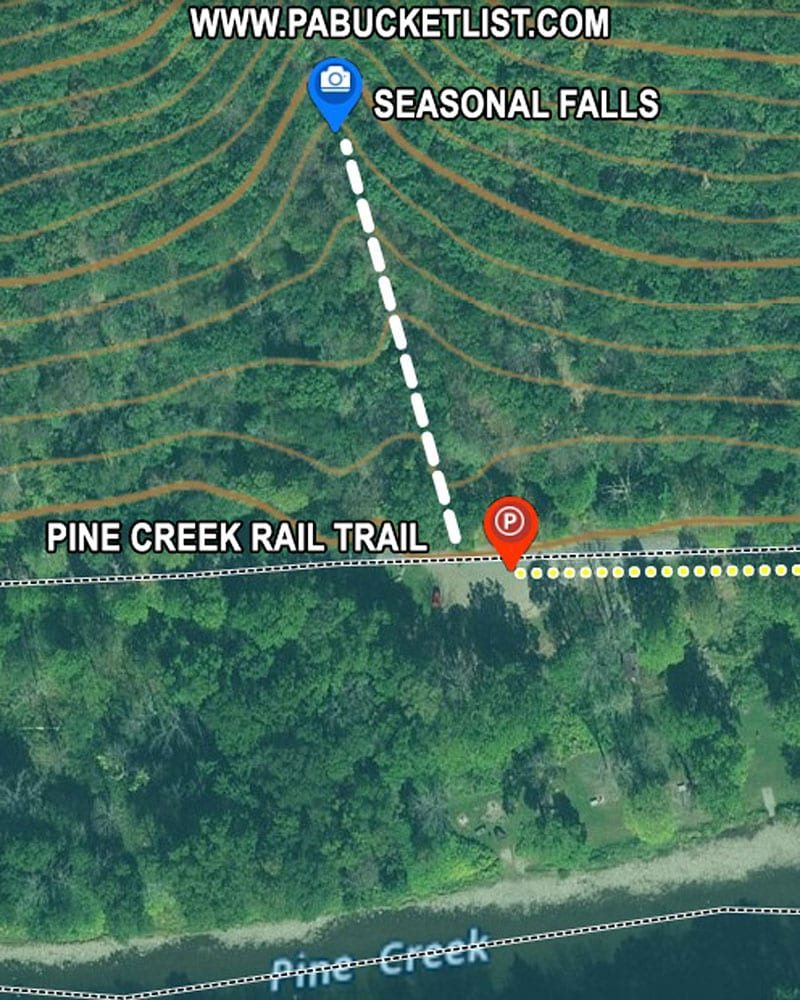 A map to the seasonal falls near the Tiadaghton parking area along the Pine Creek Rail Trail.